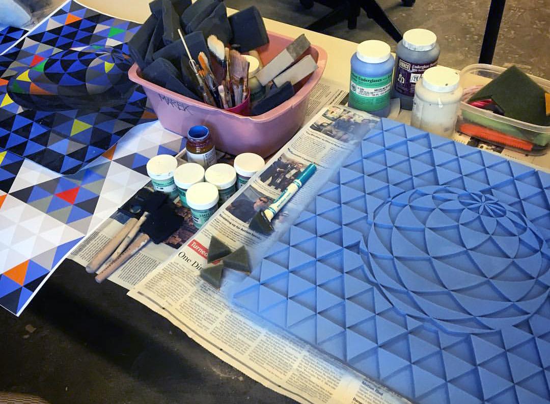 wall art geometry ceramics  Handmade Tile blue Harvard Ceramics relief 3D low-relief bas relief