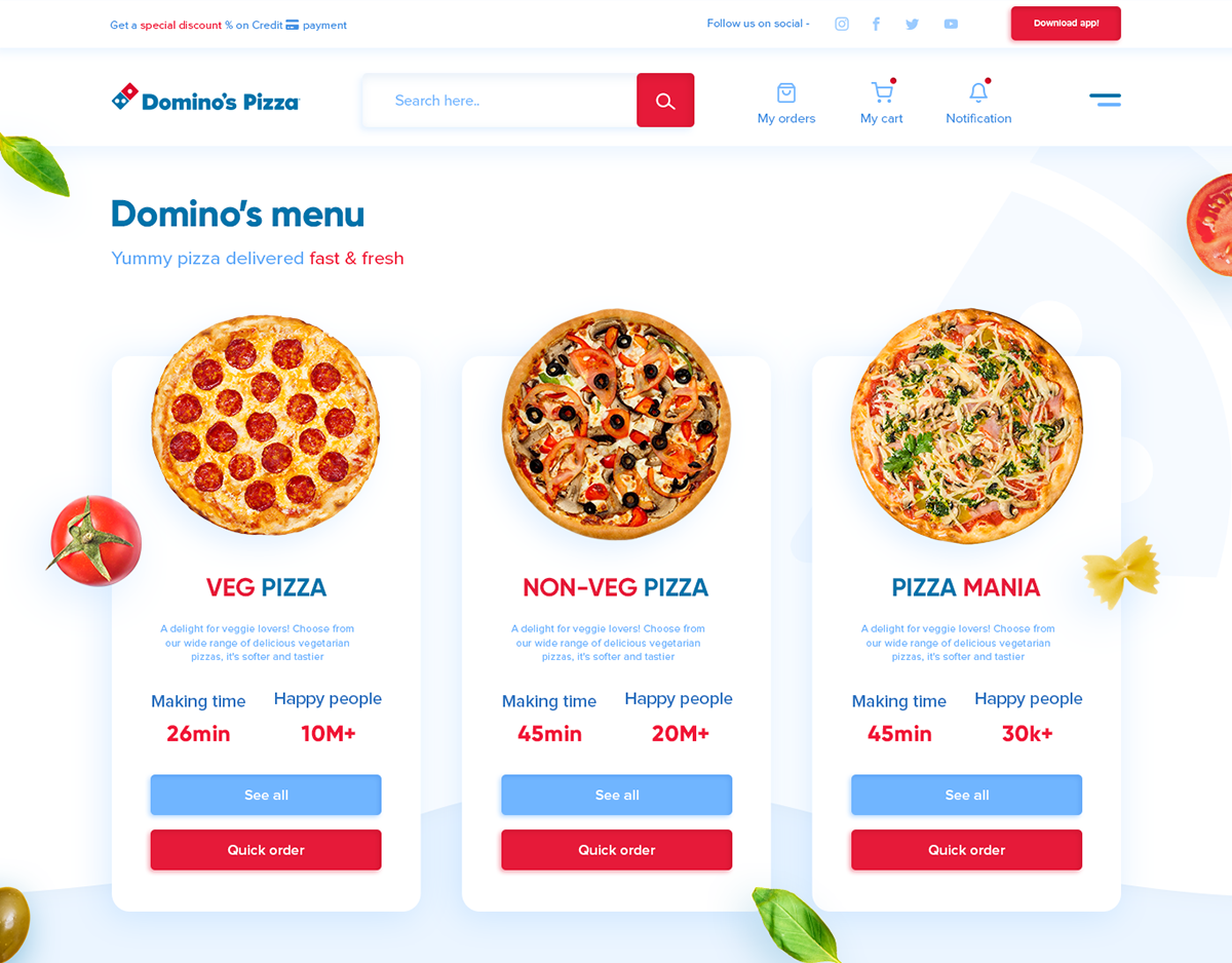 Clean UI designers designs Logo Designs minimal design Pizza ui designs UX Designs web designs web developer