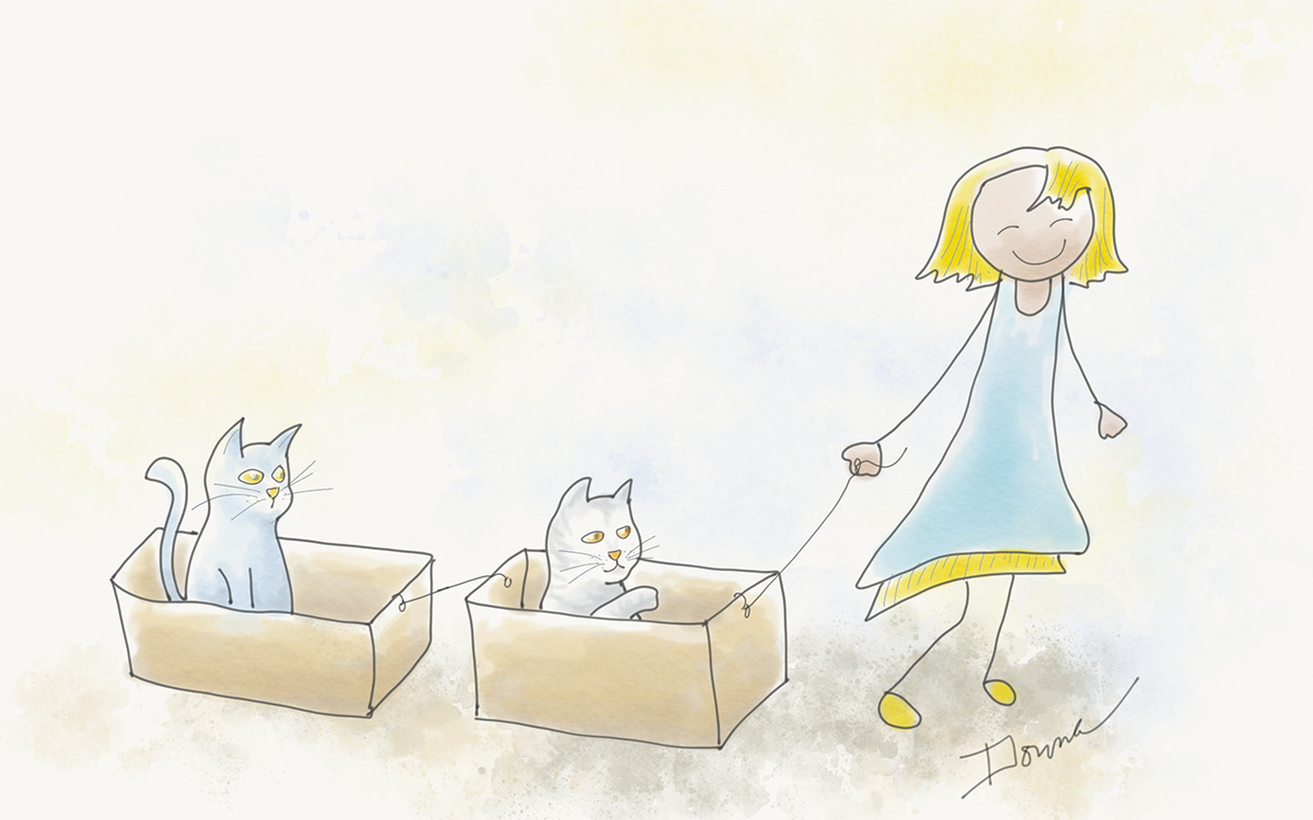 How to Walk a Cat, Girl walking cats in boxes illustration