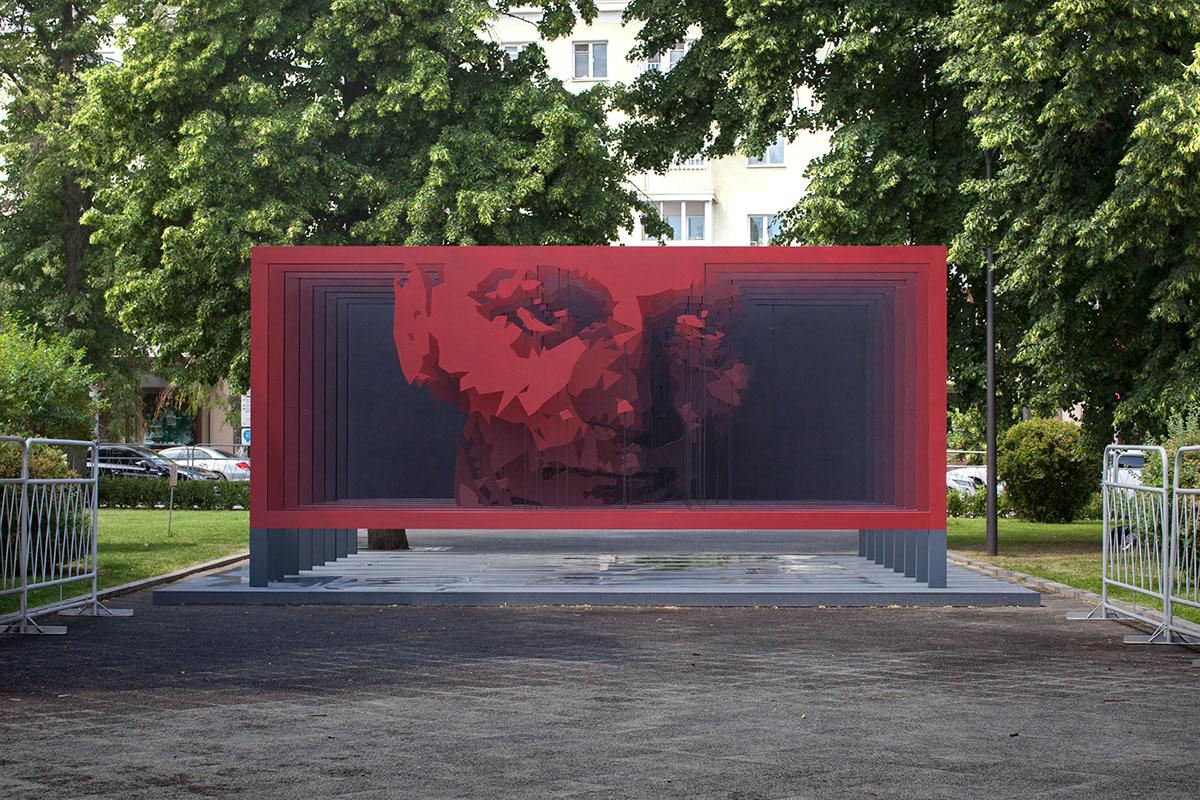 platonov voronezh public art stfnv artem stefanov plywood installation red digital layers