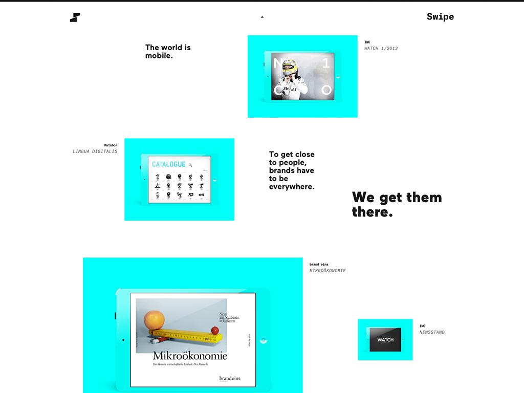 SWIPE Responsive retina multiscreen css3 html5 svg neon mobile iPad iphone poster graphicdesign german fluid