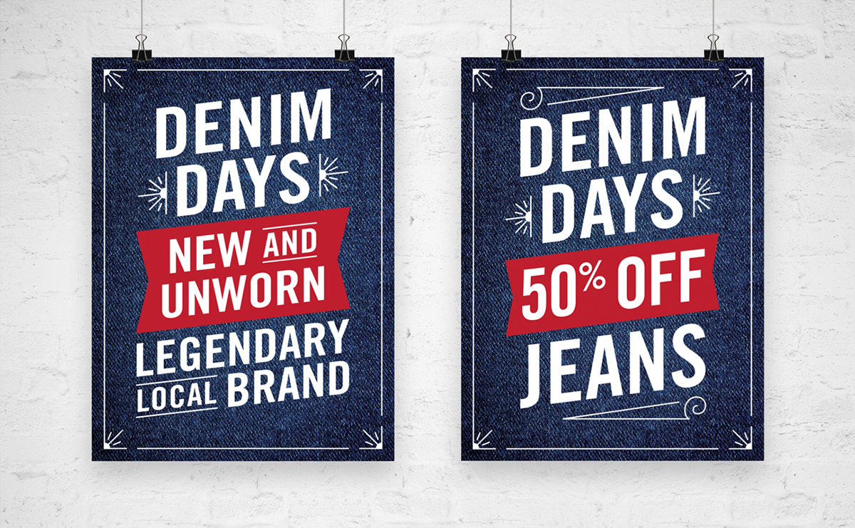 goodwill texture Trade Gothic LT Denim posters sale mobile campaign san francisco Retail