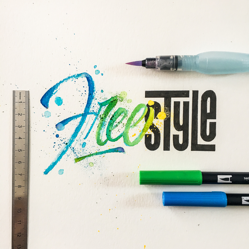 watercolor lettering colors typography   letters brushpens brush color Calligraphy   type
