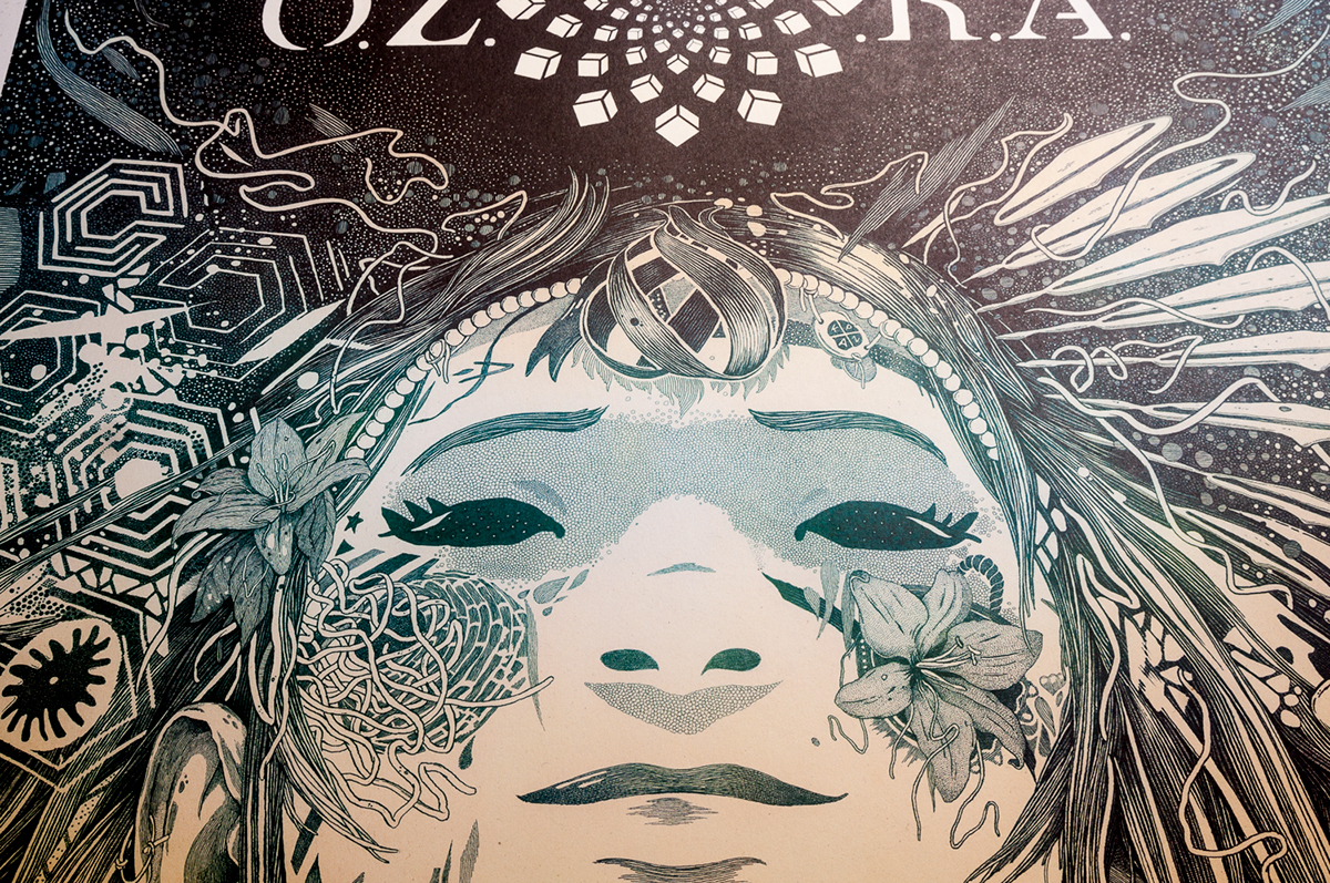 ozora psychedelic festival hand drawn stippling black and white girl tattoo traditional technic technical pen ink Gathering flower