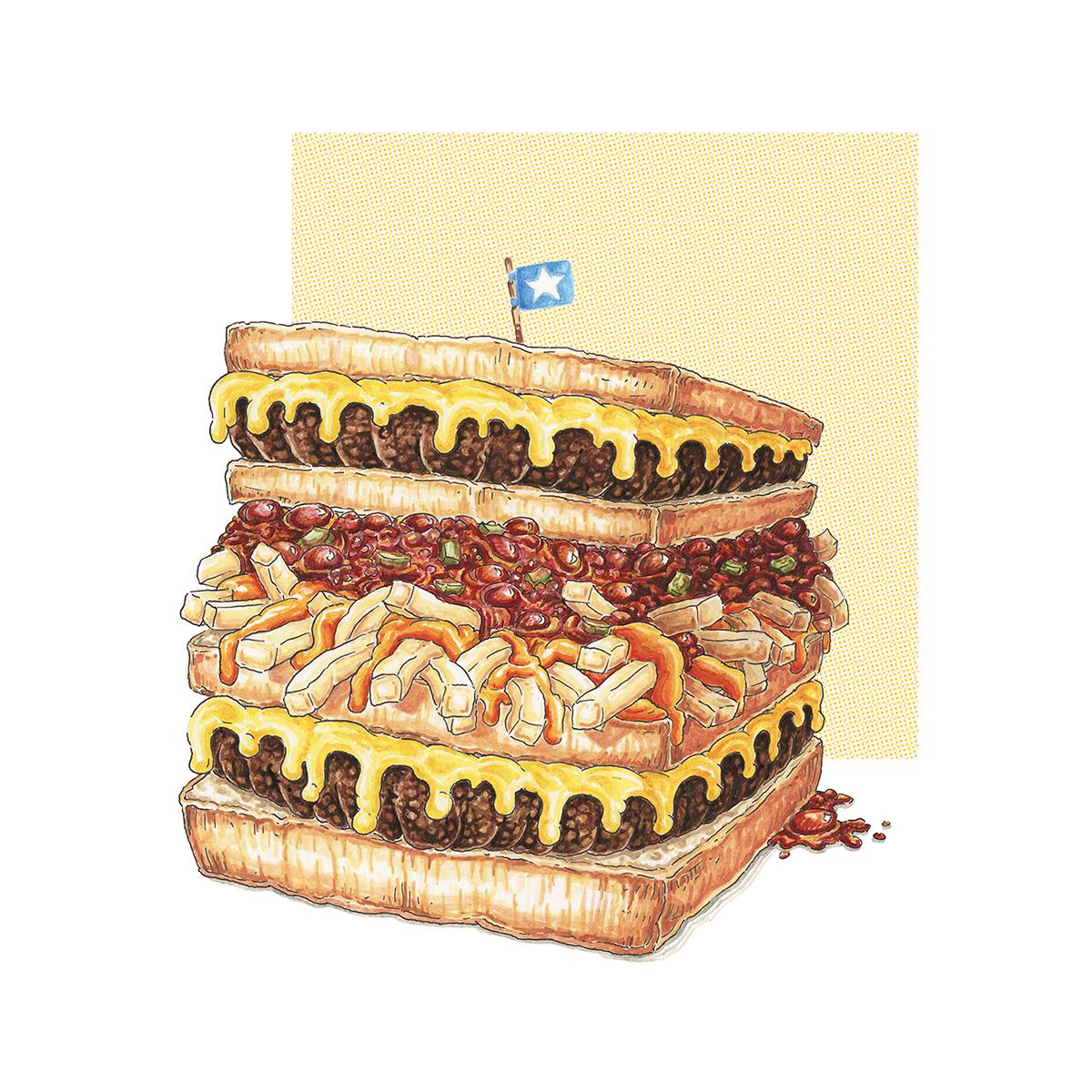 Food  america fast restaurant culture lunch grotesque delicious greasy fat hotdog Pizza burger sandwich color