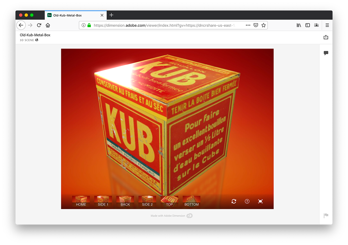 How to display online an interactive 3d old metal box on Behance