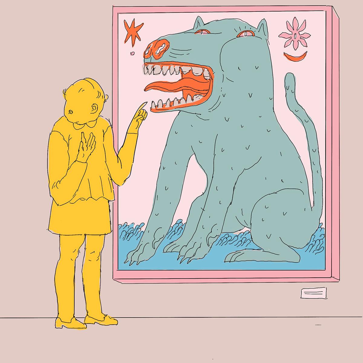gallery comics painting   visitors dream