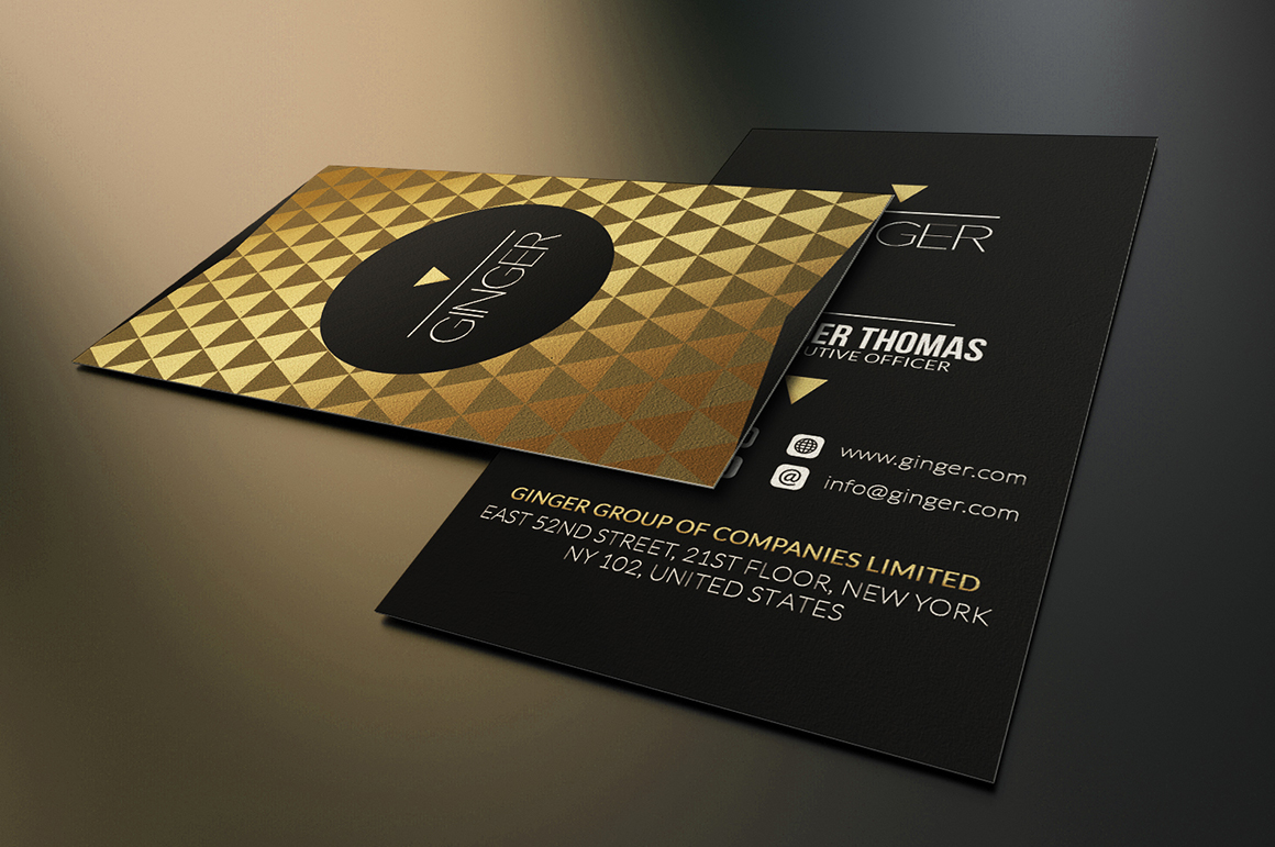 gold and black business card template on behance. Black Bedroom Furniture Sets. Home Design Ideas