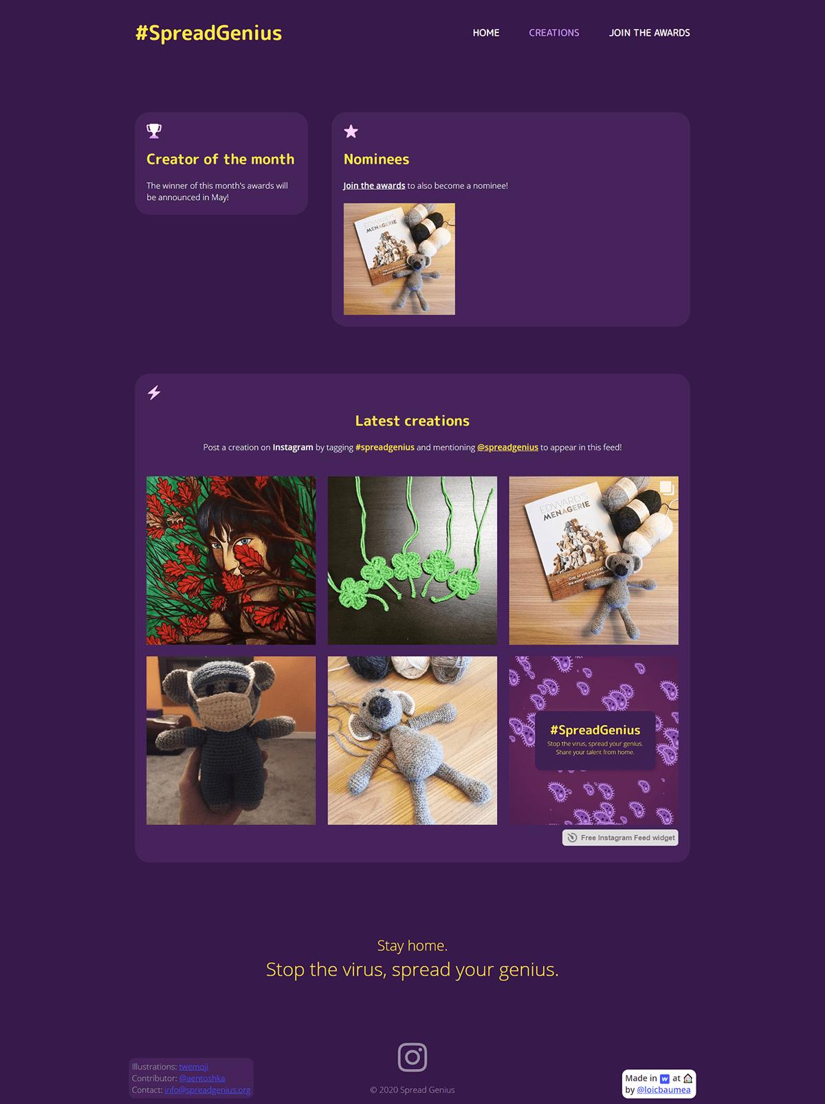 art Awards COVID19 instagram nonprofit ux/ui Web Design  web development  Webflow