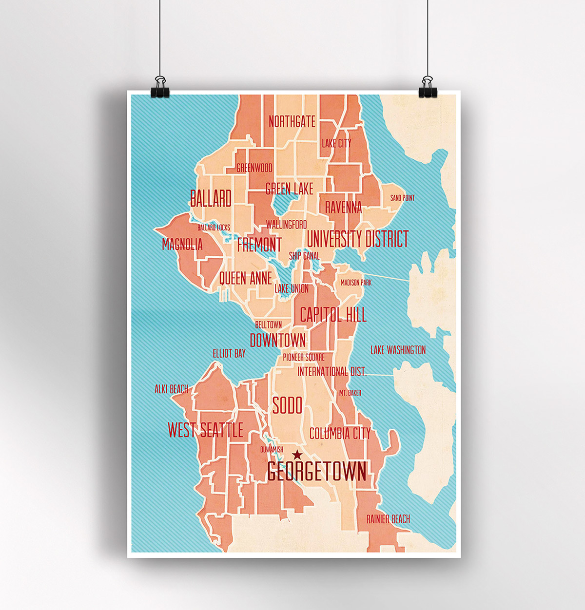 Seattle Map Project / Neighborhoods on Behance