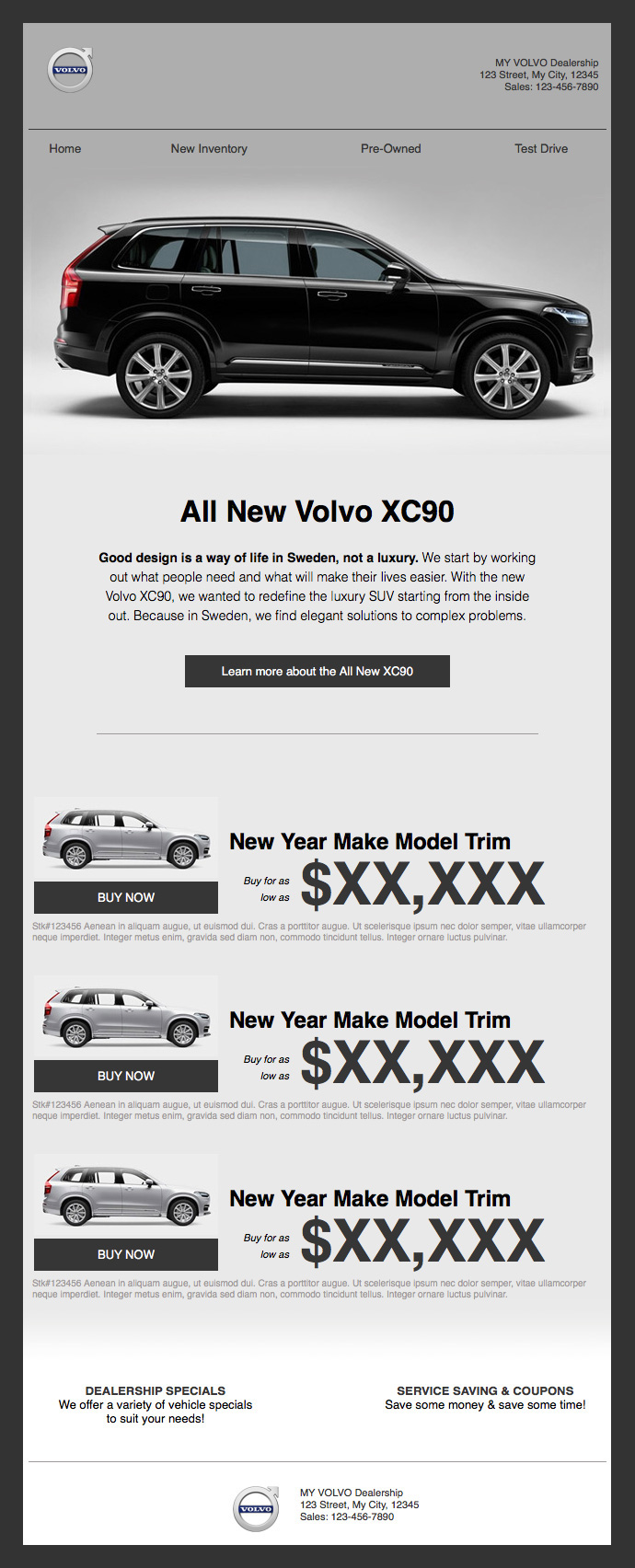 Volvo Branded HTML email template on Behance
