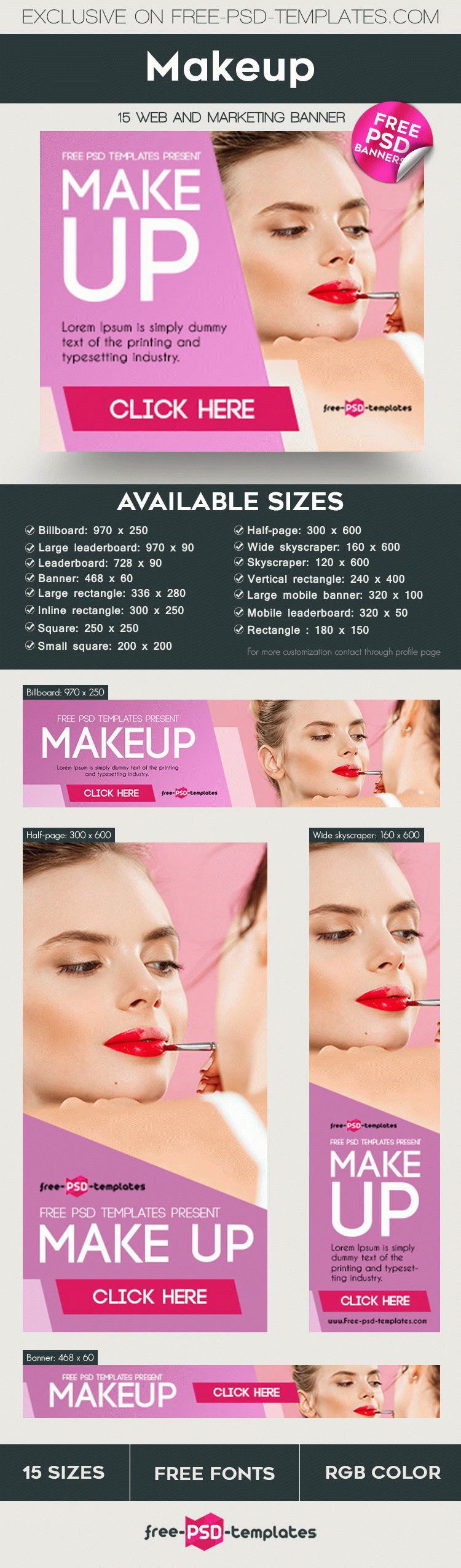You are welcome to download our new freebie – 15 Free Makeup Banners Collection in PSD. These easy-to-customize banner PSD templates will perfectly fit the ...