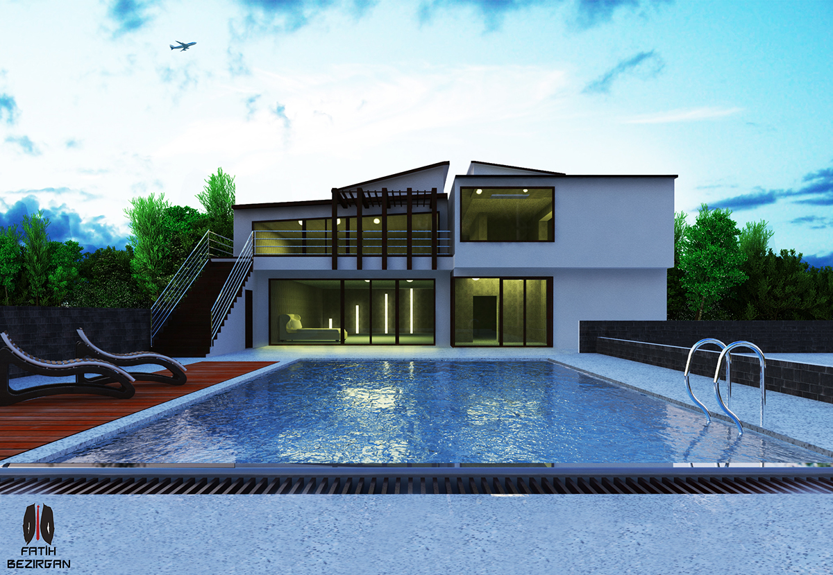 39 39 pool villa 39 39 sketchup 2015 vray on behance for Pool design sketchup