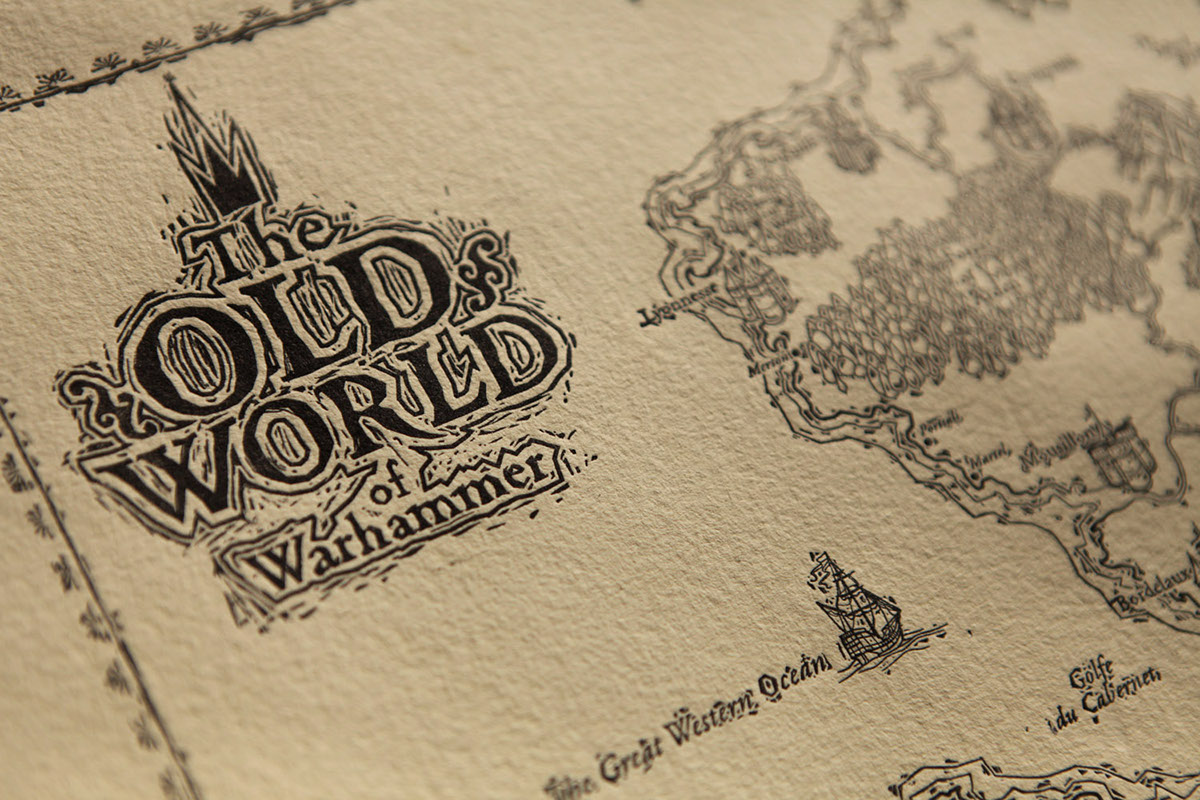 Hand Printed Map The Old World Of Warhammer On Pantone Canvas Gallery