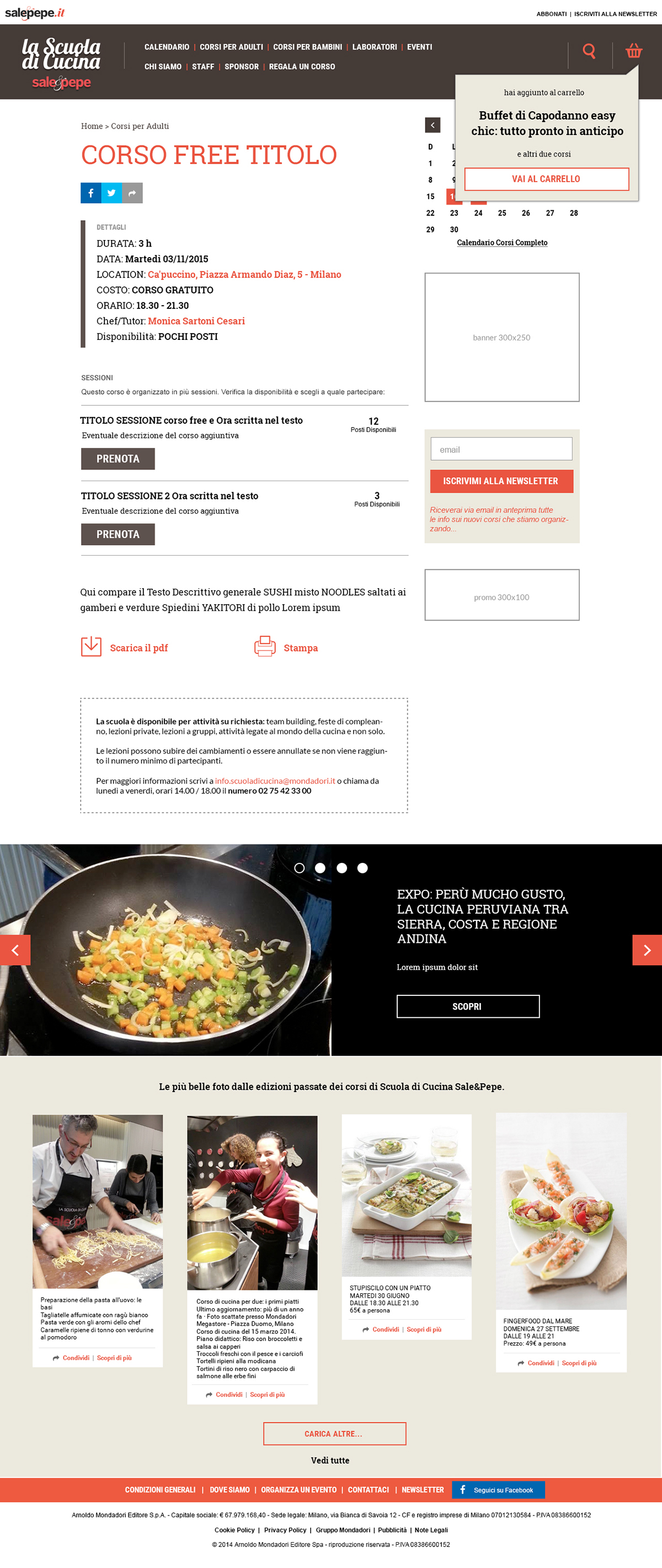 scuola di cucina sale&pepe cooking school e-commerce Website Responsive Food