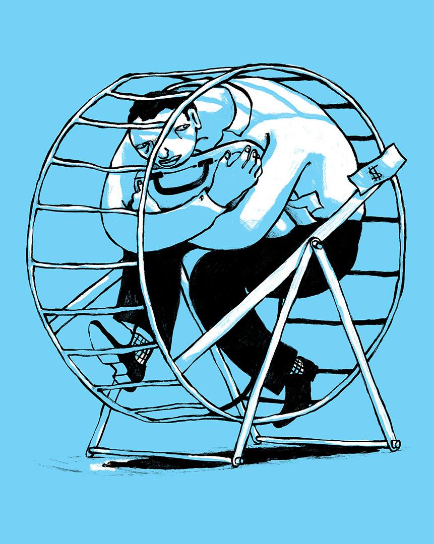 ILLUSTRATION  Drawing  Work  capitalism Character wheel Street Art  trap madrid business