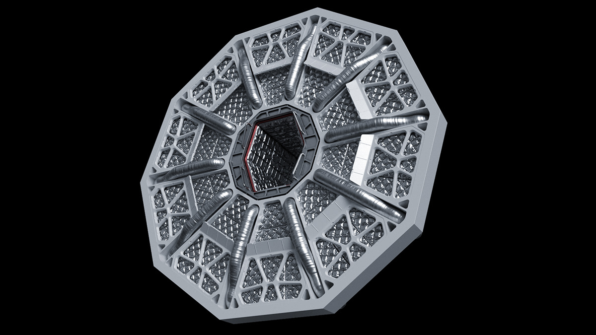 corridor Scifi Space  spacecraft Interior concept art science fiction 3D rendering Render