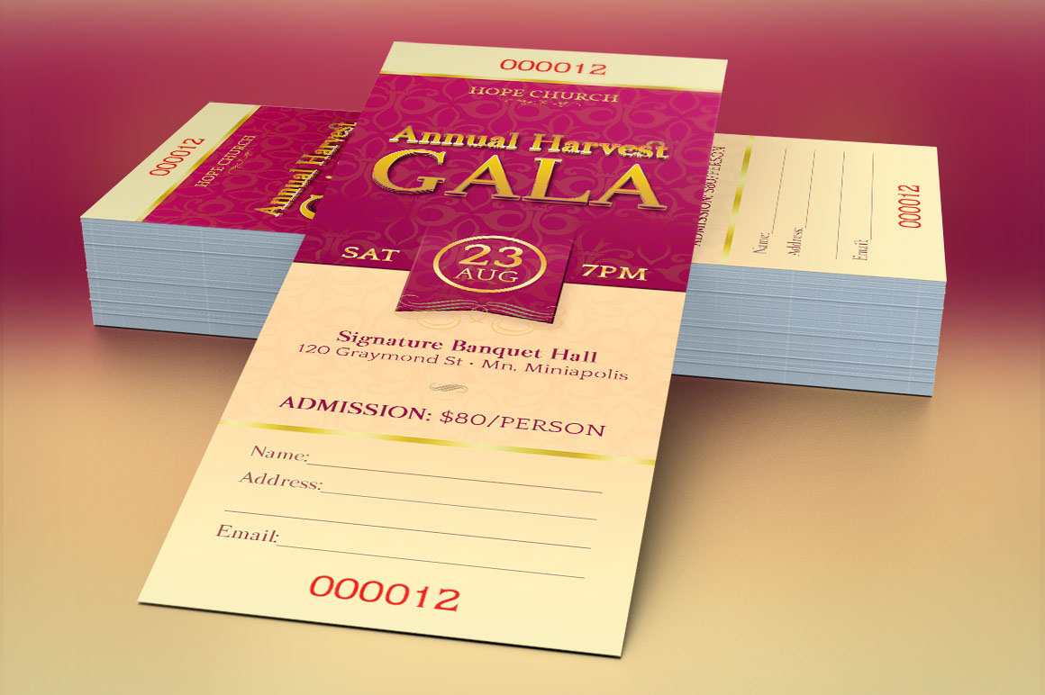 Church Gala Ticket Template Is Geared For Harvest Celebration Events Great Banquets Galas Cantatas Concerts Sermons Or Any Event That Needs