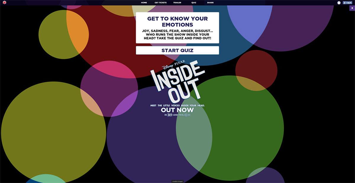 web app Quiz inside out disney