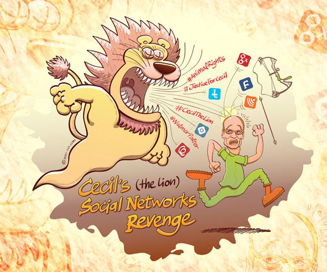 Cecil the lion taking revenge thanks to social networks