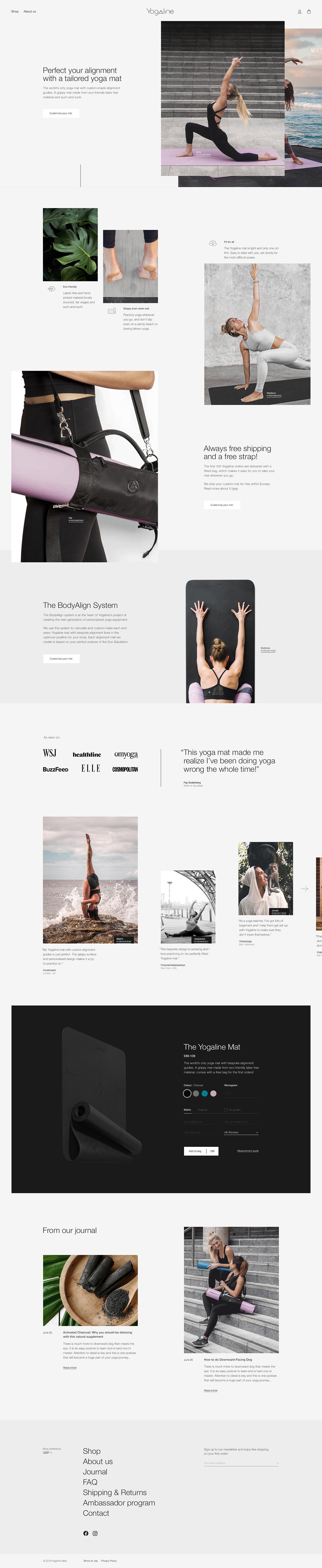 Custom DTC Ecommerce FAQ fitness grid helvetica journal shop Yoga