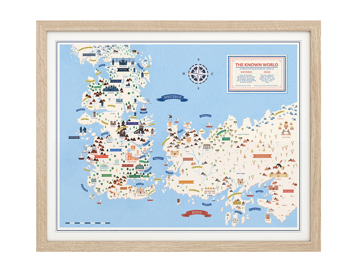 photograph regarding Game of Thrones Printable Map named Activity of Thrones sigils and illustrated map upon Behance