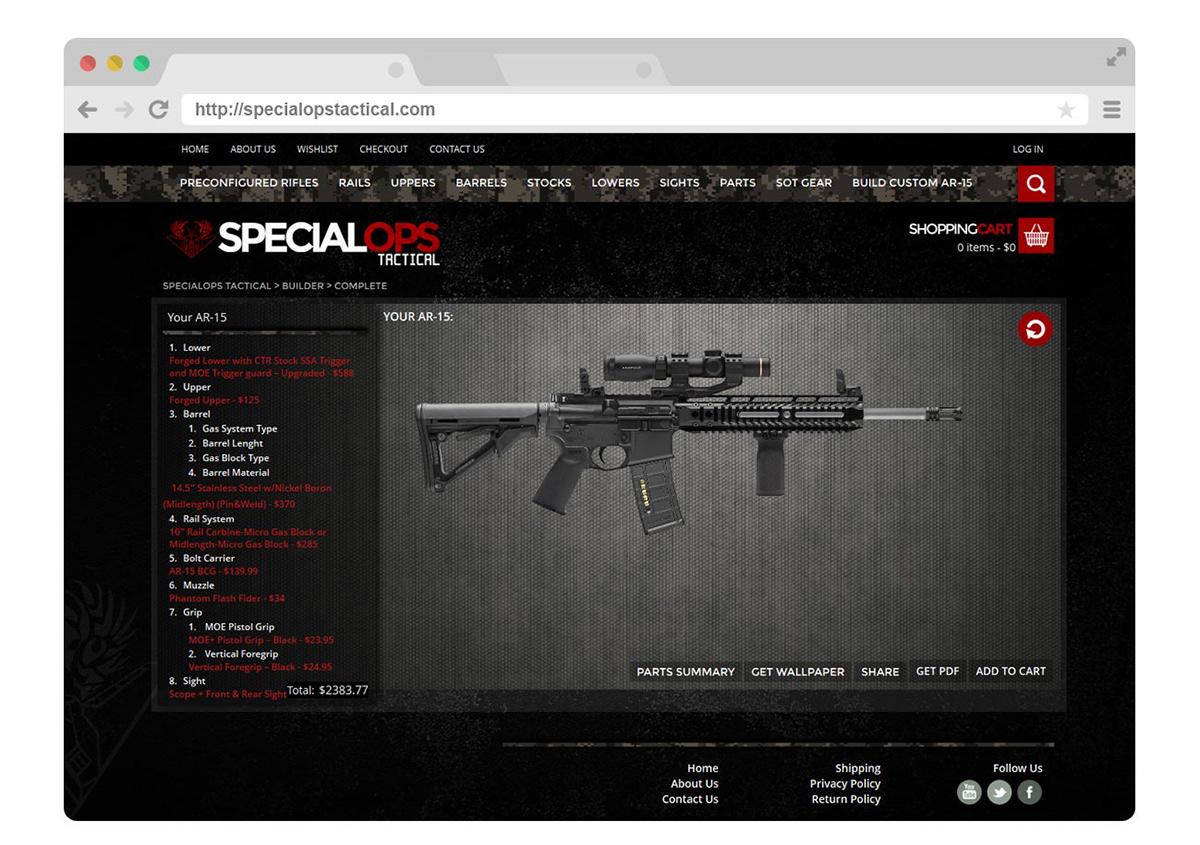 html5 css3 Ecommerce woocomerce php custom programming product creator wordpress Responsive guns AR-15 rifle