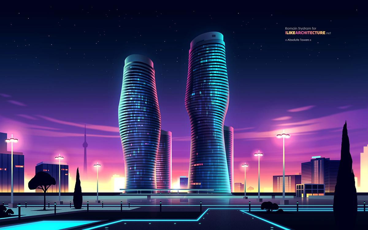 Adobe Portfolio City Light neon color city skycraper building ville wallpaper lumière éclairage night by night skyline