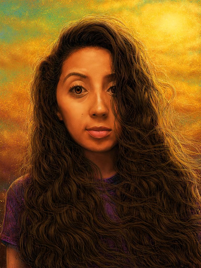 digital painting photoshop Digital Art  hair portrait digital woman sunset poster painting