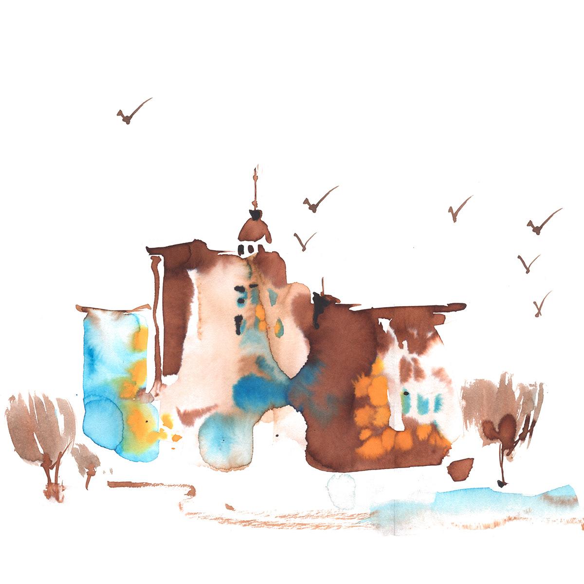 city COOL GRAPHIC houses ILLUSTRATION  pattern print watercolor watercolor print домики иллюстрация