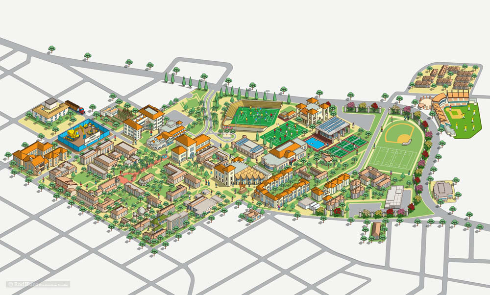 Scu Campus Map Santa Clara University Campus Map Illustration on Behance