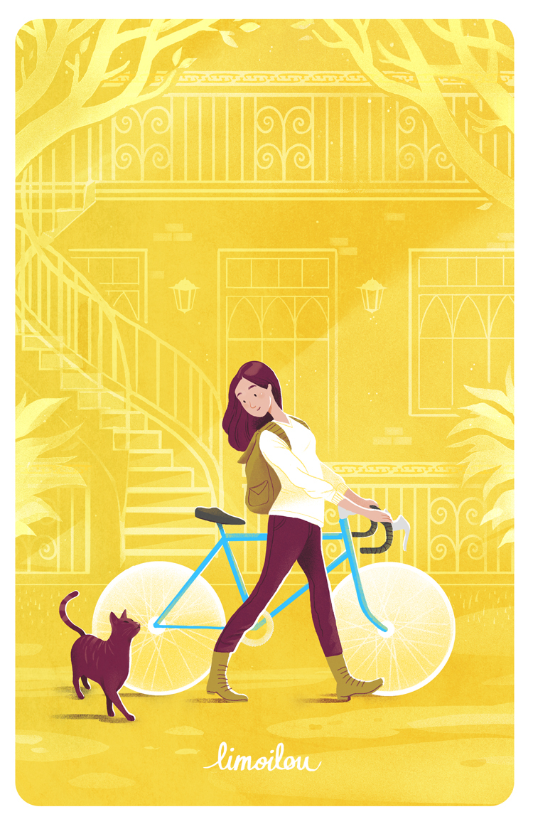 Bicycle Cat poster yellow fixie spring bicyclette Quebec