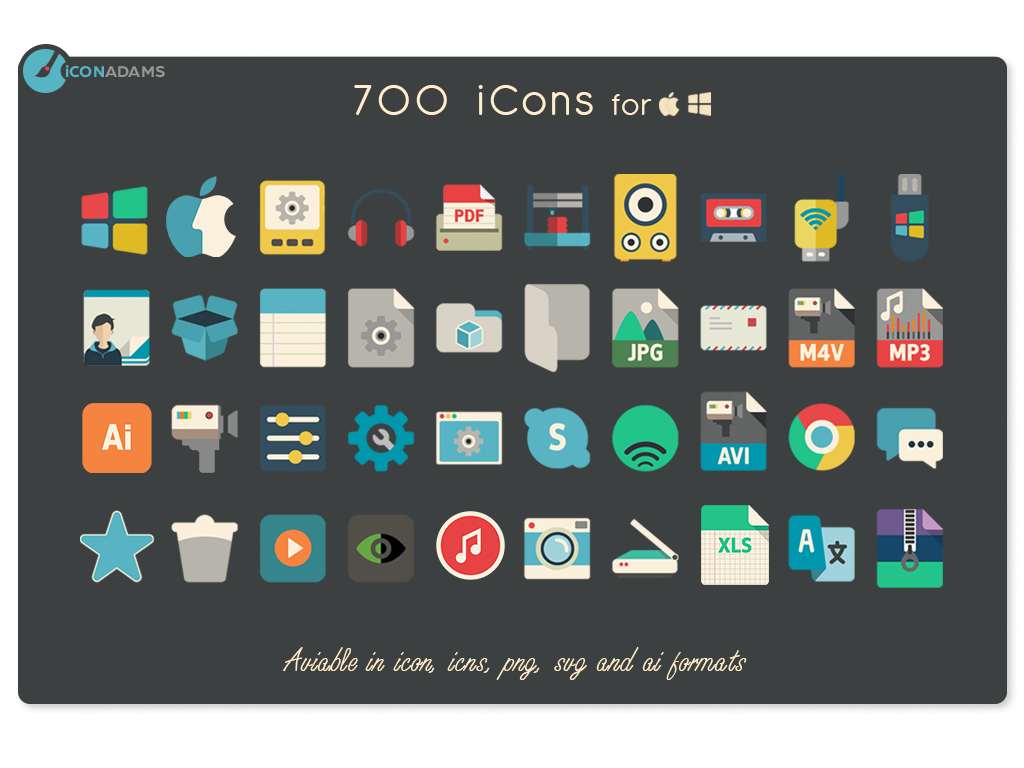 700 flat icons on Behance