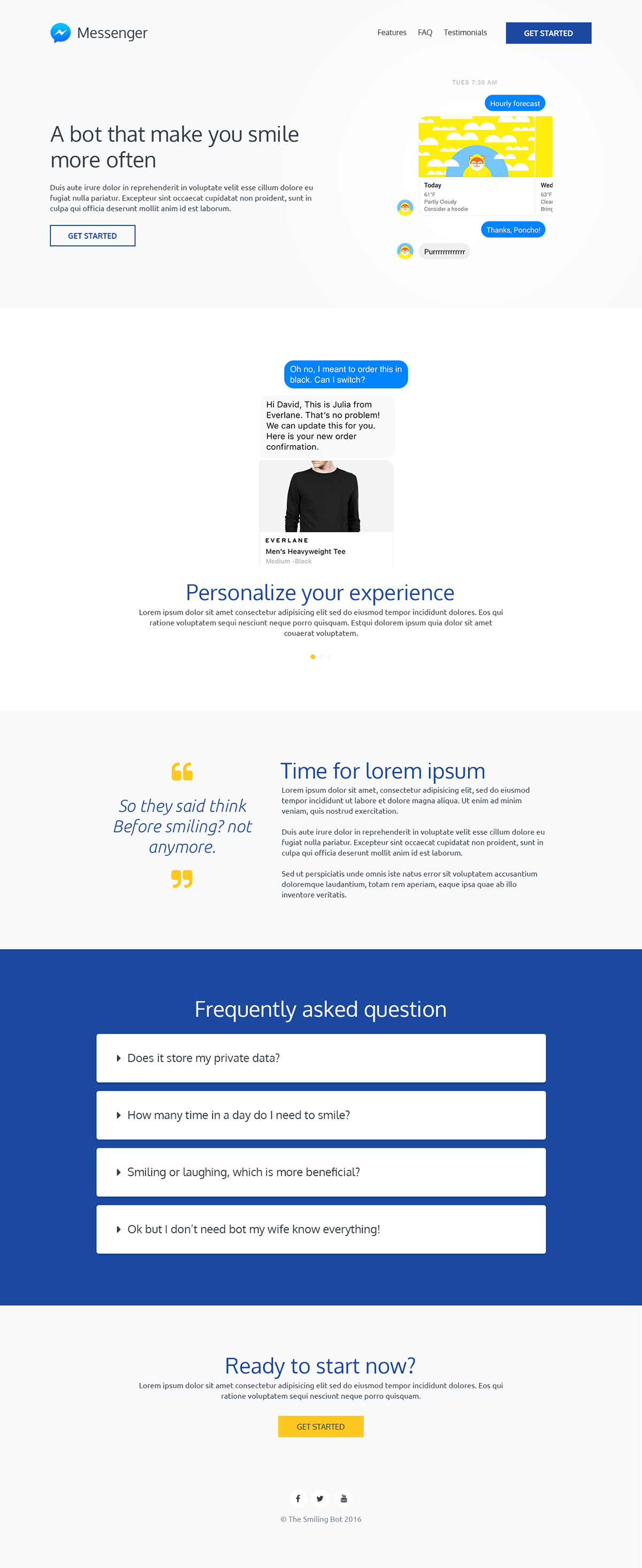 GoGo - Free Bootstrap template for chatbot landing page on