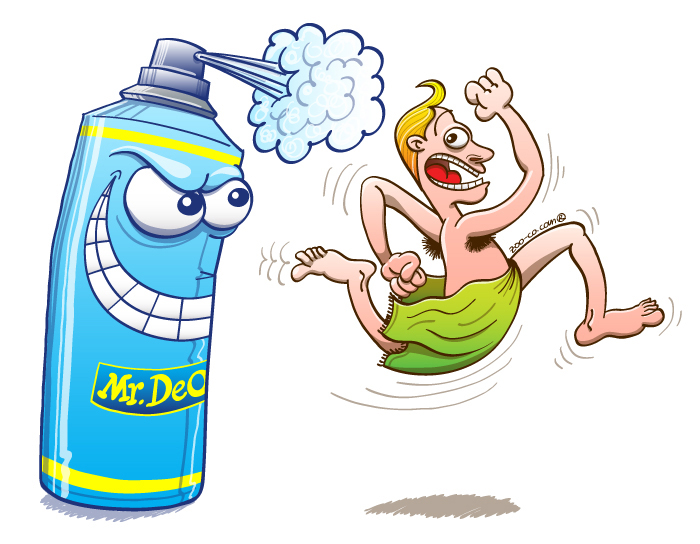 Homoecologicus man running away of a giant and dangerous deodorant