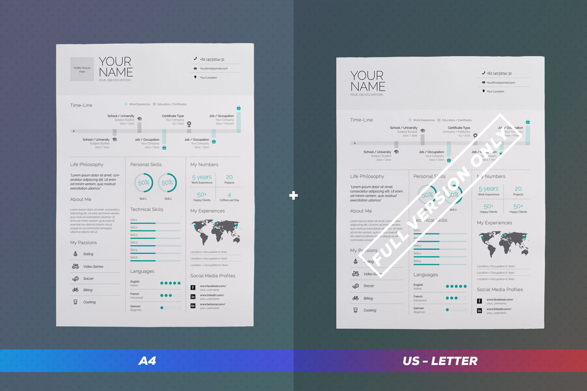 Infographic resume template microsoft word free