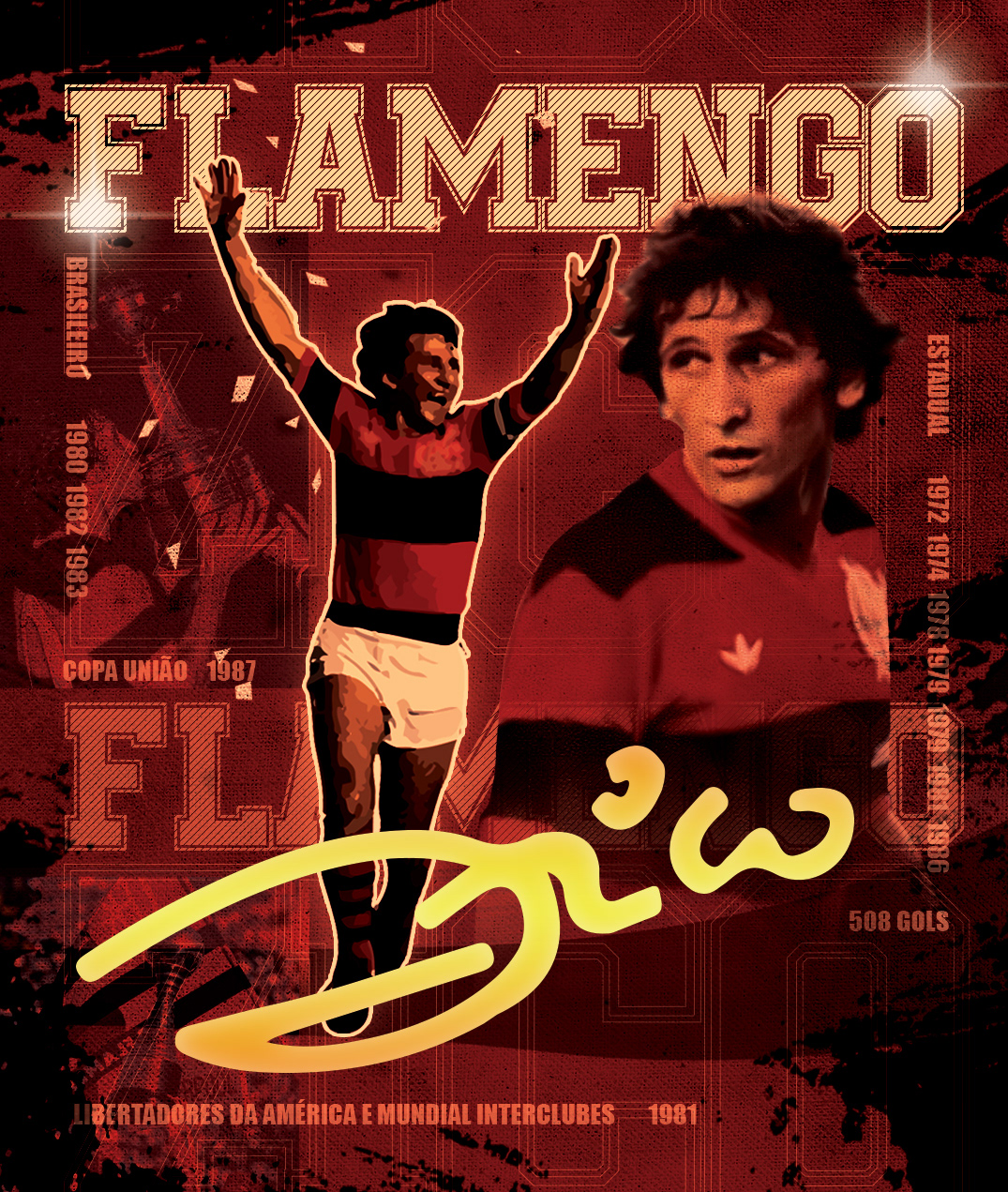 flamengo futebol impresso Zico