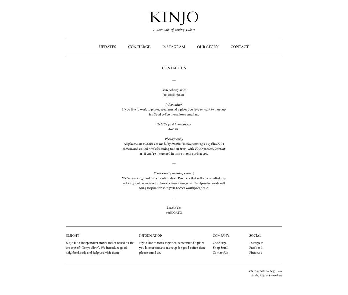 Squarespace 7 Website KINJO tour guide japan tokyo design The Printer's Son