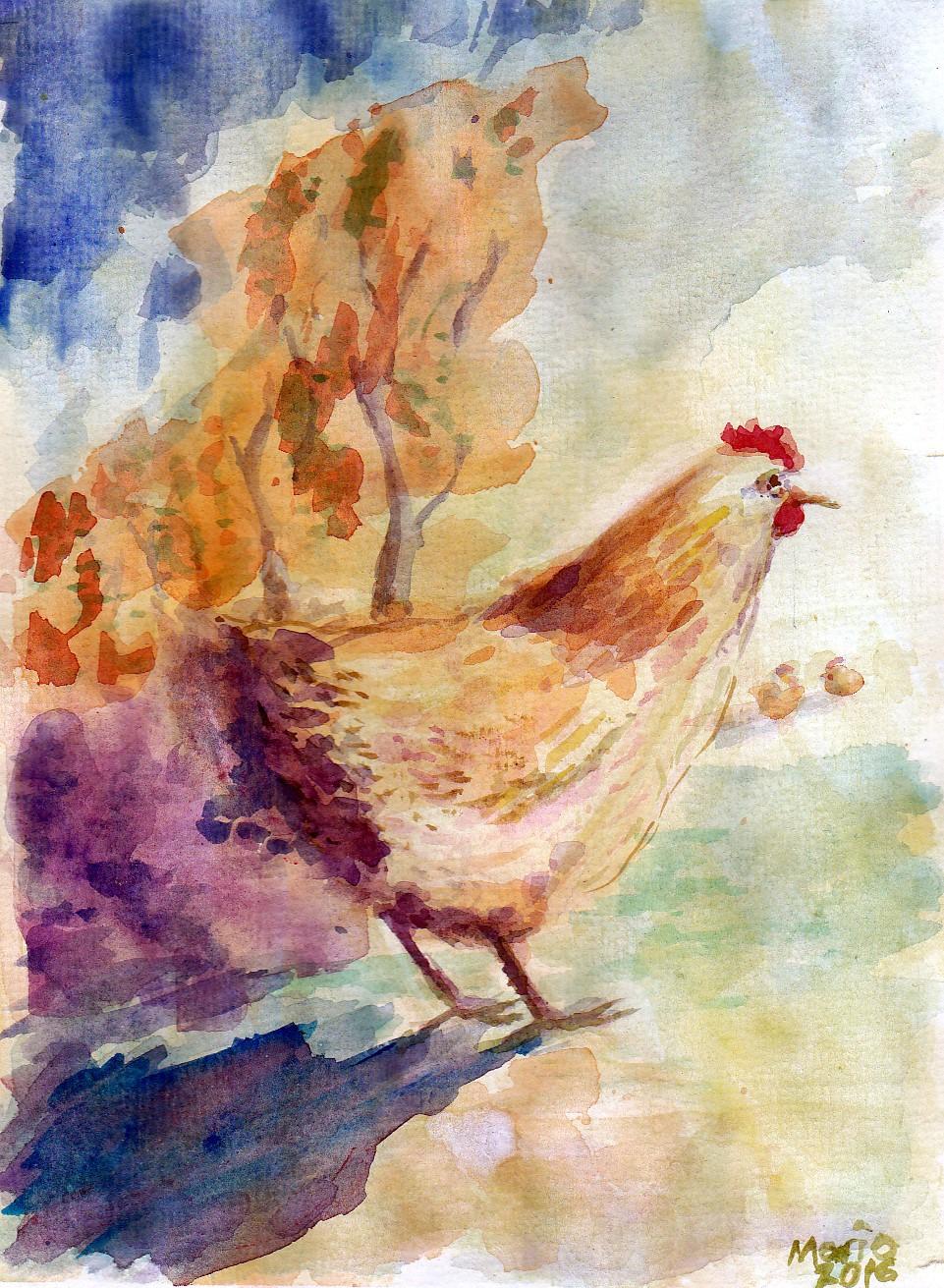 animals Rooster hen watercolor pastel mixed medis