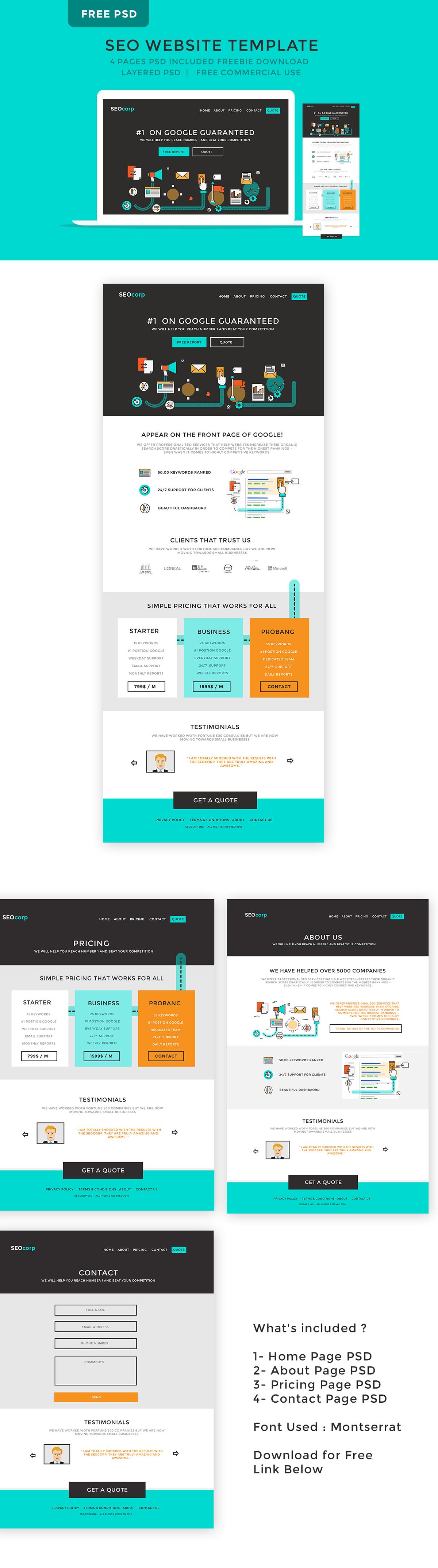 Free SEO Website Template PSD on Behance