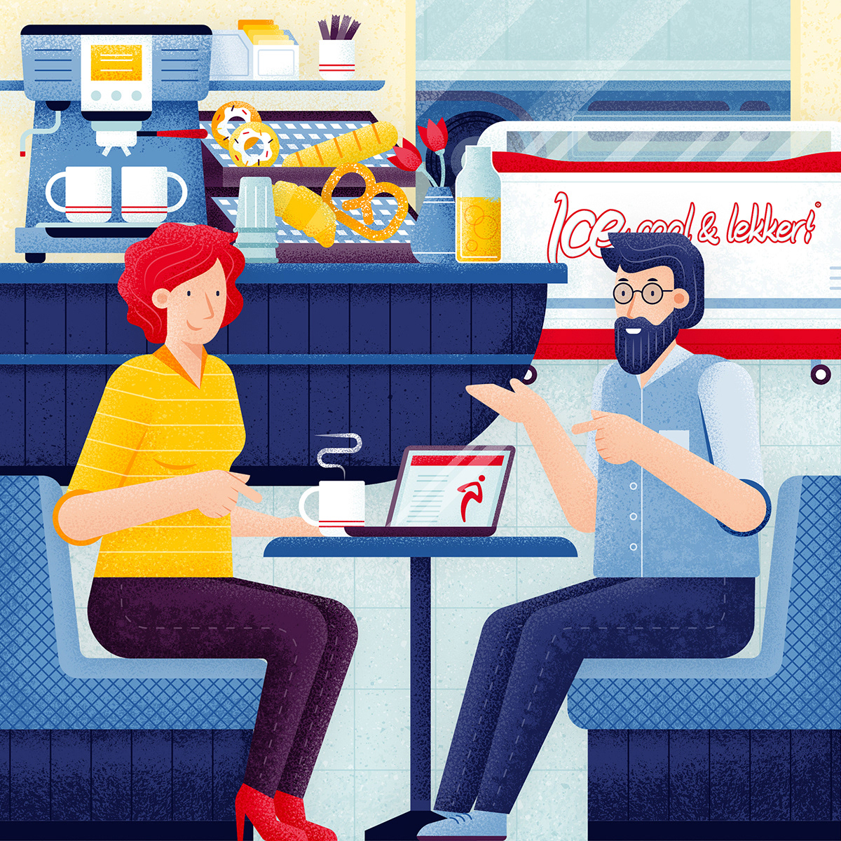 Illustration for Lekkerland magazine, shows a man and a woman sitting in a lekkerland food store and