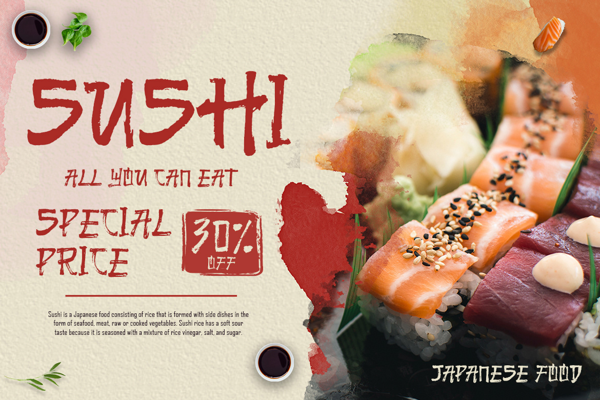 asian clean Food  GS Themes japanese brush keynote template poster powerpoint template presentationtemplate Sushi