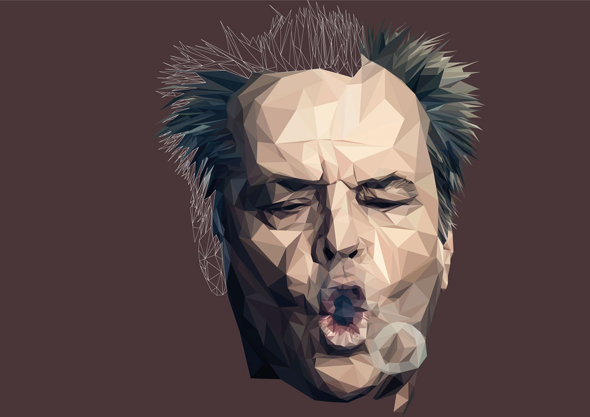 Jack Nicholson colorful vector Illustrator geometric poster low-poly lowpoly portrait Polygons movie art polygon triangle LOW
