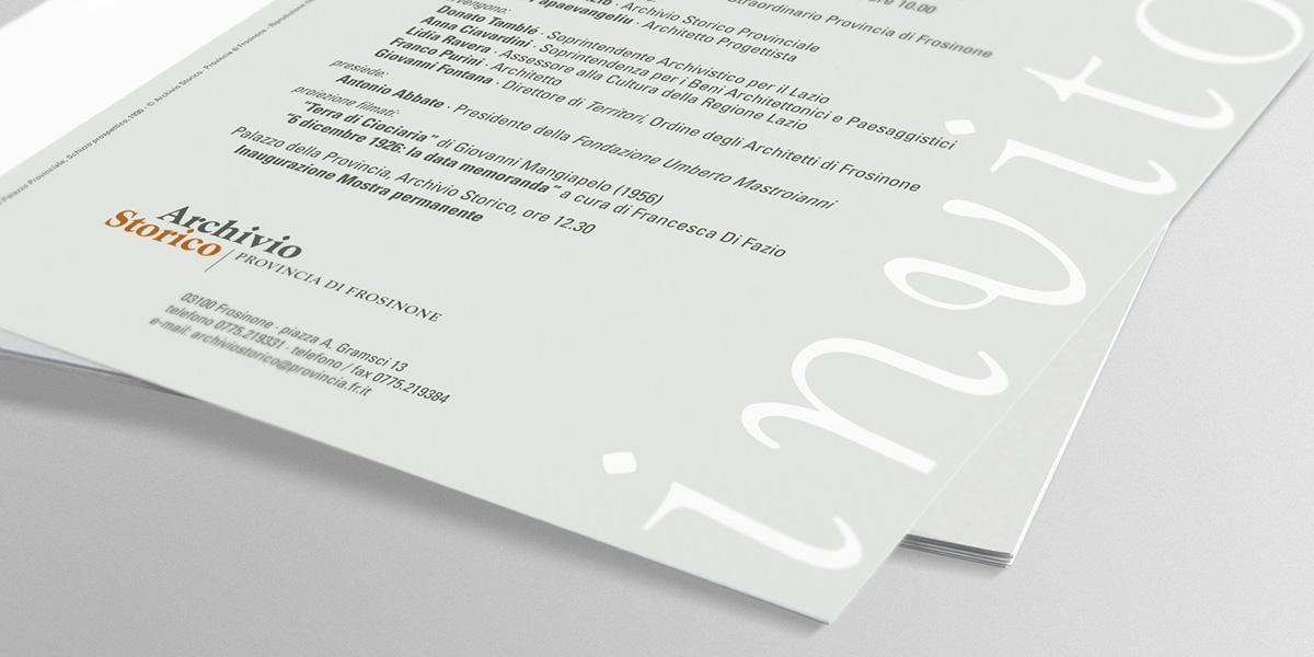 frosinone archivio storico provincia di frosinone percorso didattico mostra permanente Logotipo opuscolo segnaletica giovanni jacobucci