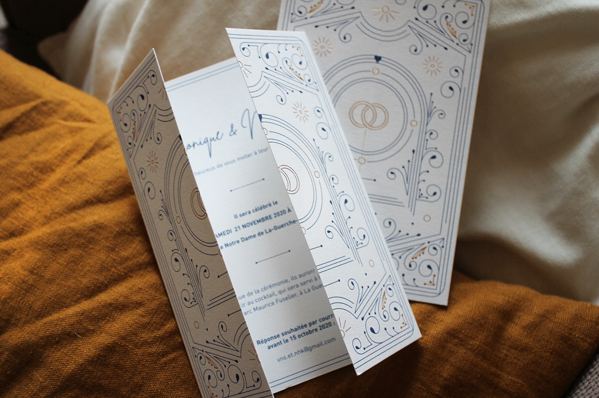 blue print details gold foil ornament Photography  print wedding Wedding Card wedding invitation