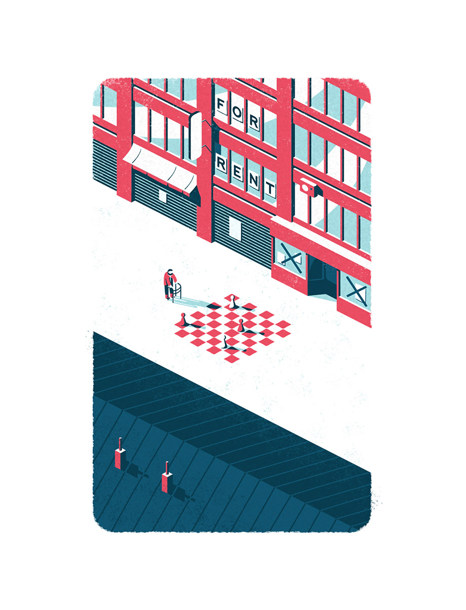 Isometric illustration showing an old man walking down an empty street with closed shops and stores.
