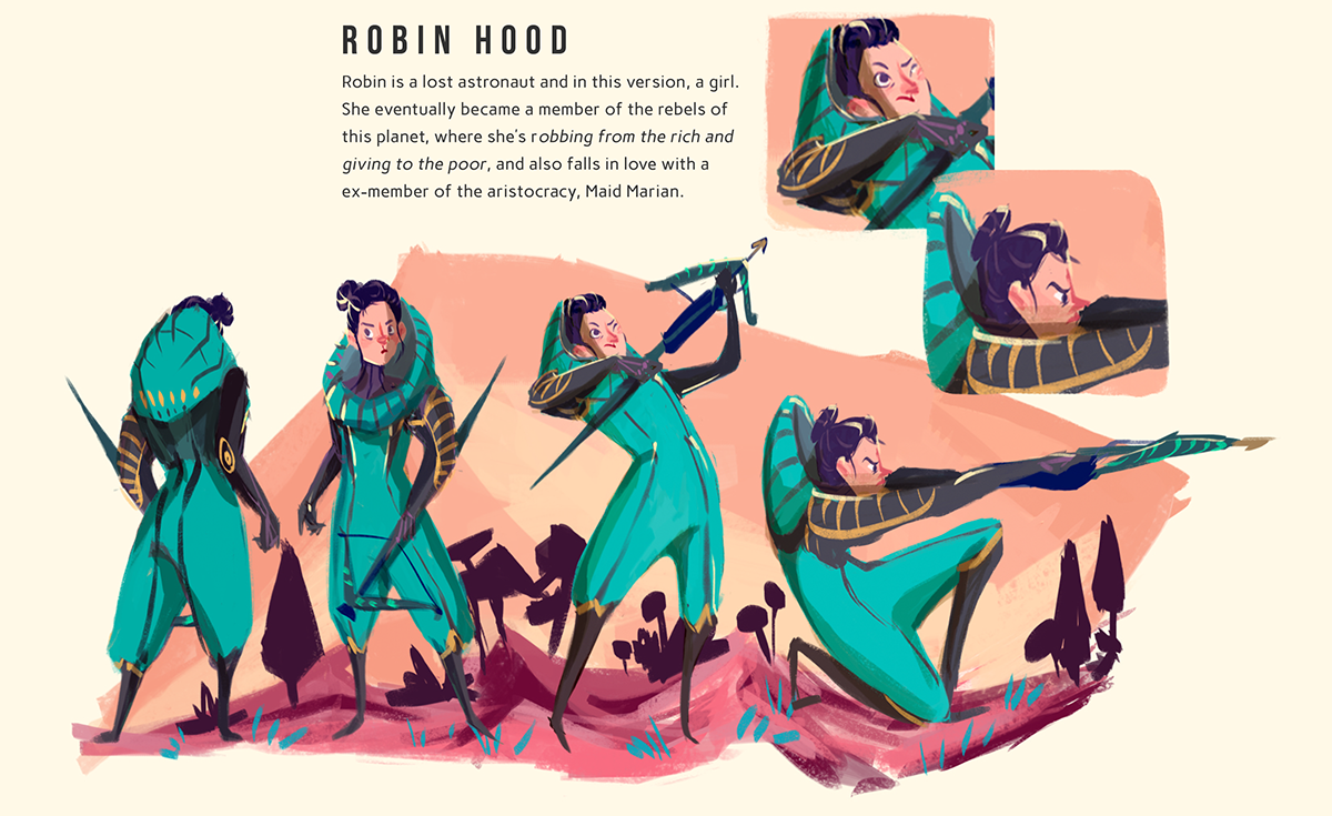 Robin Hood,sherwood,Nottingham,forest,Castle,concept,concept art,environment,Character,turnaround,turn around,girl,alien,Space ,color