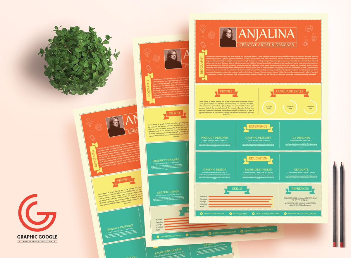 Free Creative Resume Template For Creative Artist On Behance