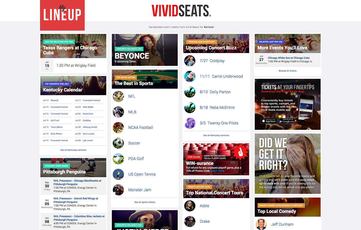 my lineup personalized landing page for event tickets on behance