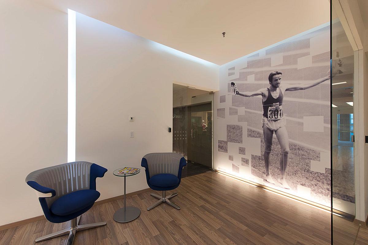 Asics Headquarters LatinAmerica Office graphics Interior sports walls glass